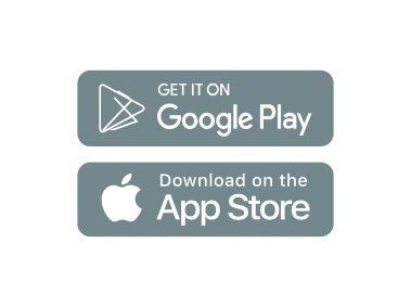 Google Play and App Store Grey Logo